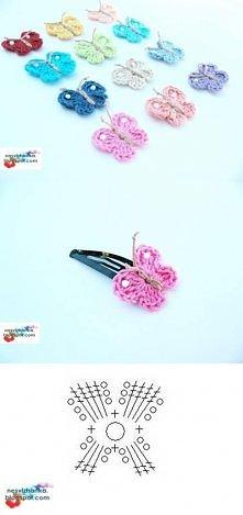 diy, crochet butterfly, butterfly clip, tutorial