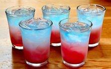 Trójwarstwowe shoty 10 ml Sprite'a, 10 ml wódki cytrynowej, 20 ml blue curaca...