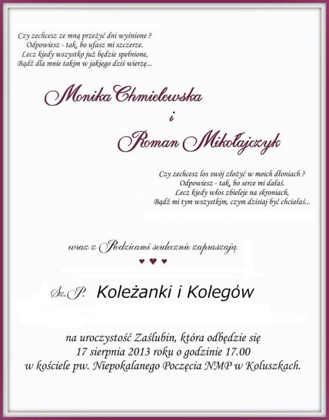 Ciekawe Zaproszenie Zwłaszcza Te Hm Wierszyki Na ślubneokazyjne