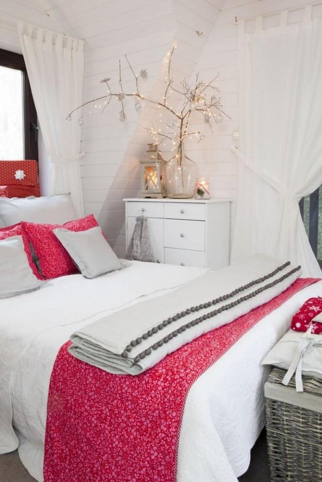 Sypialnia W Bieli Akcenty Czerwieni I Szarości Plus