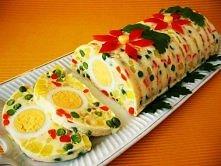 galaretka z jaj i warzyw Składniki  - 200 g marchwi  - 200 g mrożonego groszku (lub zielony groszek w puszkach)  - 350 g ziemniaków  - 200 g gotowanej szynki  - 100 g jabłek  - ...