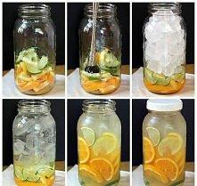 pomarańcze, limonki, cytryny. Na słoik 5 litrowy: - 5 pomarańczy - 2 limonki - 1 cytrynę pokroić w pólplastry ułożyć na spodzie do 3/4 wysokości, uzupełnić kostkami lodu i zalać...