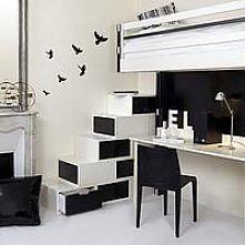 Ciekawe biało-czarne piętrowe łóżko z biurkiem na dole :) Więcej na moim profilu