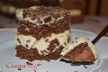 Przekładaniec czekoladowy biszkopt, masa chałwowa i gorzka czekolada