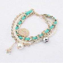 Bransoletka multi paris Są to 3 bransoletki połączone w jedną całość. Składa się z bransoletki z perełkami, bransoletki z kryształkami, bransoletki z łańcuchem i przywieszek. Wy...