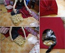 domek dla kota z koszuli
