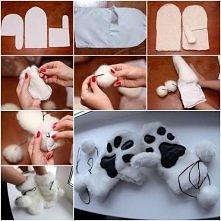 """rękawiczki ze """"zwierzęcą"""" łapką od spodu"""