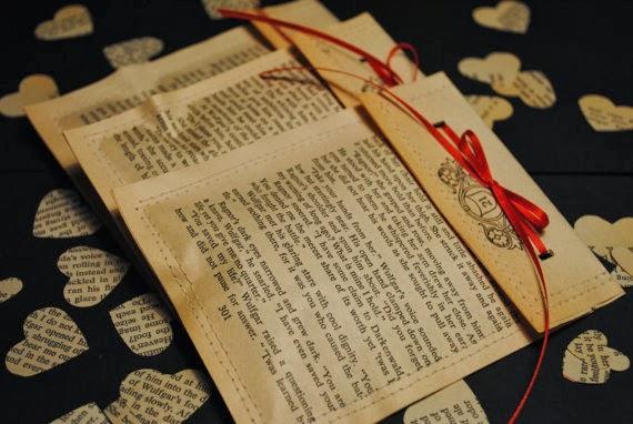 walentynki koperty z książki/gazety