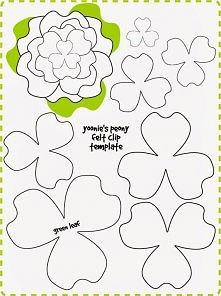 szablon kwiat, kwiatek z filcu lub papieru