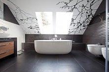 łazienka, czarny i drewno