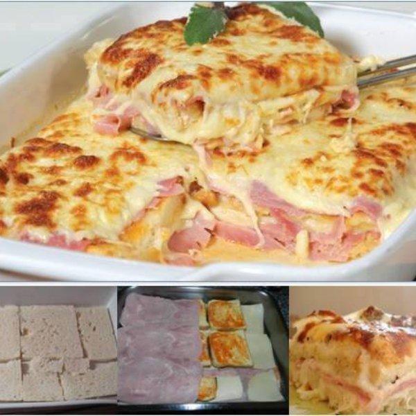 LASAGNA z chleba ... Huummmm!   składniki:  1 opakowanie chleba tostowego Śmietana 1 cebula  3 ząbki czosnku  1/2 kg sera mozzarella  1/2 kg szynki   Jak przygotować  W rondlu na odrobinę oleju wrzucamy cebulą i czosnek, a następnie dodajemy śmietany. Z chleba usuwamy skórkę i układamy warstwę, na to wylewamy trochę naszego sosu ze śmietany, ser, szynkę. Kolejny raz powtarzamy to samo. Na górę znowu ser i do pieca, aż ser się rozpuści i zapiecze