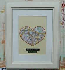 Sentymentalna mapa związku - obie połówki serca wskazują na miejsce pochodzen...