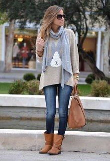 bluzka z zajączkiem, jeansy, botki+torebka
