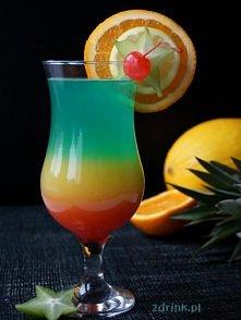 SIX CYCLE  Składniki: * 90 ml białego rumu * 40 ml likieru maraschino * 150 ml soku pomarańczowego * ok. 1 łyżka grenadiny * 20 ml likieru Blue Curacao * 150 ml wina musującego/...