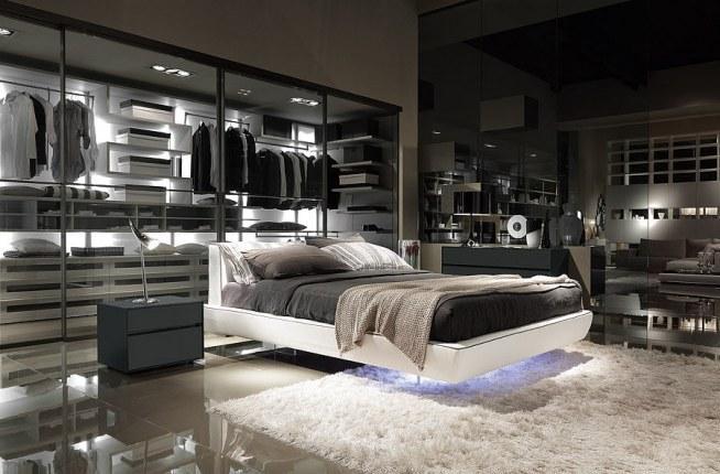 Ciemna ale za to cudowna sypialnia z szafą za łóżkiem