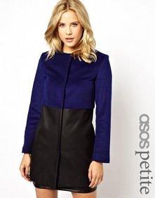 Asos Petite - ASOS PETITE Premium Collarless Coat with Leather Panel