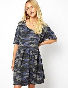 Asos - ASOS Smock Dress In Denim Look Camo