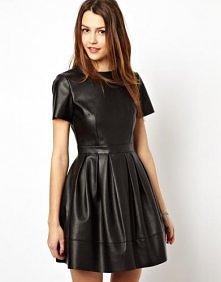 Asos - ASOS Skater Dress In Leather Look