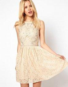 Asos - ASOS Lace Skater Dress With Embellishment