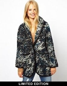 Asos - ASOS Limited Edition Chunky Knit Coat With PU Trims