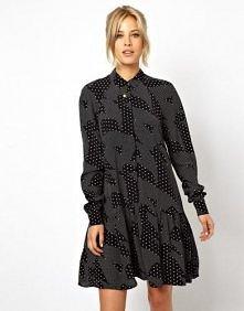 Asos - ASOS Shirt Dress In Mono Print