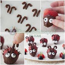 czekoladowo truskawkowe robaczki idealne na każdy  kinder bal