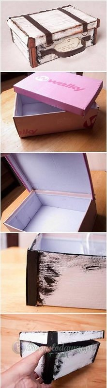 kuferek retro z pudełka po butach