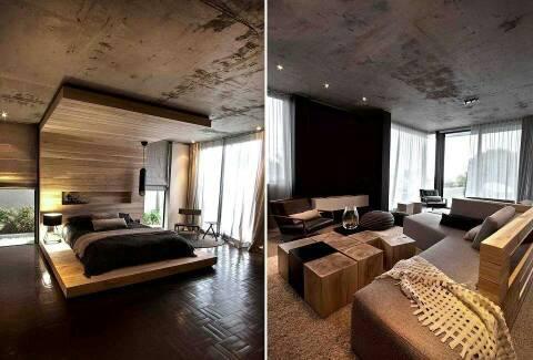 drewno i beton na home. Black Bedroom Furniture Sets. Home Design Ideas