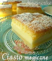 Magiczne ciasto  Składniki:  - 4 jaja  - 150 g cukru  - 1 łyżka wody  - 125 g...