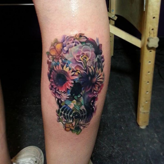 Czaszka Z Kwiatów Na Wzory Tatuaży Zszywkapl