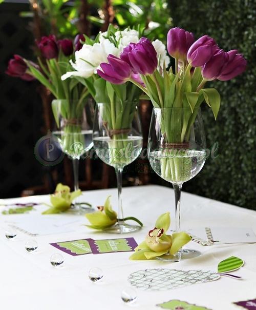 Tulipany Kieliszki Z Wodą A Efekt Genialny D Na Dekoracje