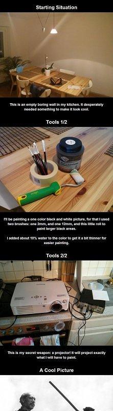 Genialny pomysł na ulubioną, własną grafikę na ścianie DIY! ;)