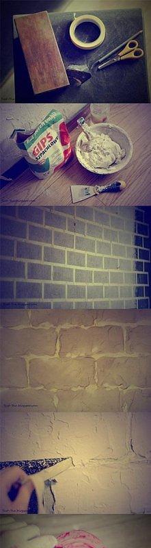 Zrób to Sam DIY Tani i w miarę łatwy sposób na samodzielne wykonanie imitacji cegieł na ścianie.  Szczegóły na blogu: yust-yna.blogspot.com