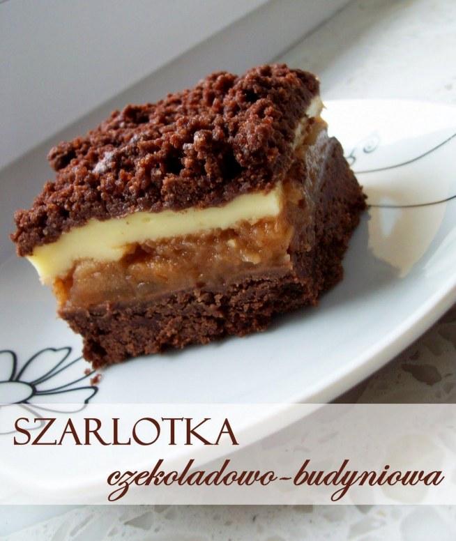 Szarlotka czekoladowo-budyniowa  Przepis po kliknięciu w zdjęcie :)
