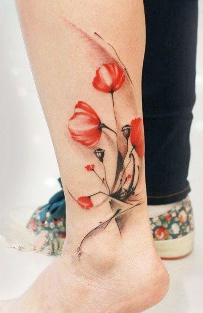 Czerwone Maki Tatuaż Na Kostce Na Wzory Tatuaży Zszywkapl