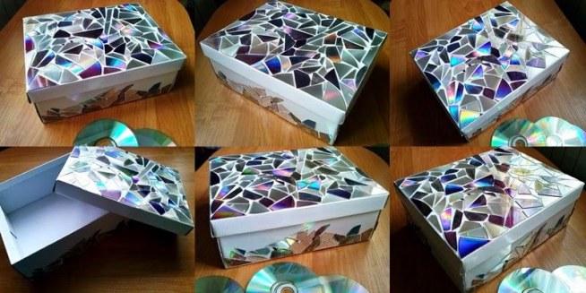Pudełko po butach oklejone kawałkami płyt, do ich przyklejenia użyłam dwustronnej taśmy klejącej. Blog