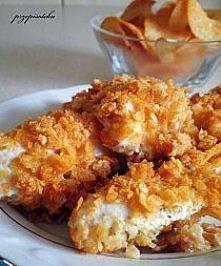Czosnkowy kurczak w chipsach paprykowych  Składniki:  500 g filetów z piersi ...