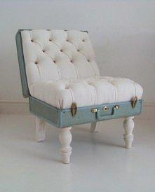 DIY fotel ze starej walizki
