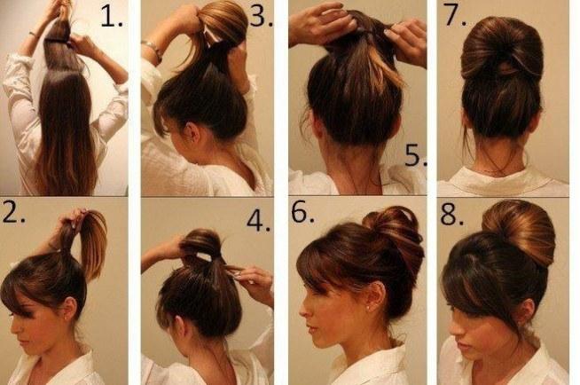1. Rozczesz dokładnie włosy.  2. Zwiąż je w jak najwyższy kucyk.  3. Delikatnie zsuń gumkę, a końcówki włosów przełóż przez środek tak jak na zdjęciu numer 3.  4. Pociągnij za włosy tak, by gumka ponownie zsunęła się w kierunku głowy.  5. Umocuj fryzurę kilkoma wsuwkami.