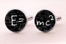 """Ślubne spinki do mankietów E=mc2  W ofercie dostępne są również spinki do mankietów z grafiką """"na życzenie"""".  Więcej spinek do mankietów w butiku online MadameAllure!"""