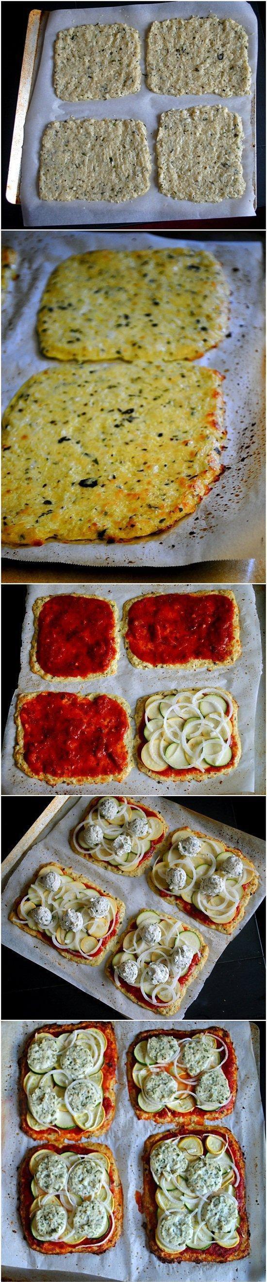 """Pizza z kalafiora""""zastępcza pizza z kalafiora"""" 200g surowego kalafiora ścieramy na tarce, pół kulki mozzareli, mieszamy to w misce z jajkiem i przyprawami. Rozgrzewamy piekarnik do 180 stopni. Zimną blachę smarujemy oliwą z oliwek, rozkładamy równomiernie ww. masę, wierzch posypać ziołami lub kurcharko-podobną przzyprawą. Pieczemy 12-15 minut, po tym czasie wyjmujemy, smarujemy sosem i dajemy dodatki które chcemy wkładamy do piekarnik na jakieś 5 minut z opcją 'grill'"""