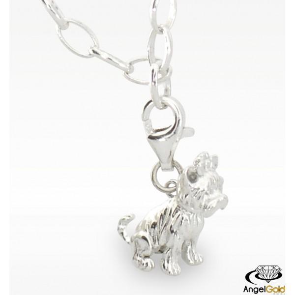 Charms w kształcie YORKA wykonany ze srebra próby 925. Komu się podoba? :)