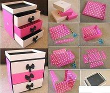funkcjonalna szafeczka z szufladami. wykonana z nieużywanych pudełkach po butach :)