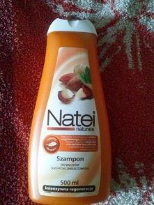 Szampon Natei do włosów suchych i zniszczonych. Biedronka-3,50 zł. Jeden z moich ulubionych, ponieważ utrzymuje się długo piękny zapach :) Polecam :)