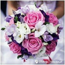 Bukiet ślubny -  frezje, róże, tulipany oraz goździki