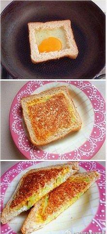 Coś na pyszne śniadanie. Potrzebne rzeczy :chleb,  jajko,wędlina,szczypiorek,...