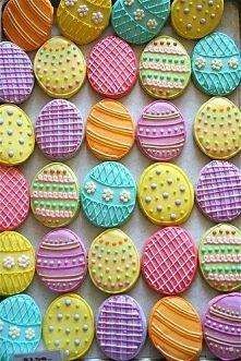 *** kolorowe ciasteczka, jajka na Wielkanoc ***