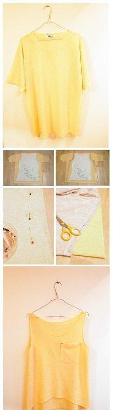 DIY - zrób to sam - przeróbka za dużej bluzki w ładny top idealny na lato