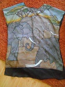 Zwiewna tunika z 2 apaszek...przód ręcznie malowana ... cena aż 4 zł.
