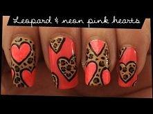 Leopard & Neon Pink Hearts nail art